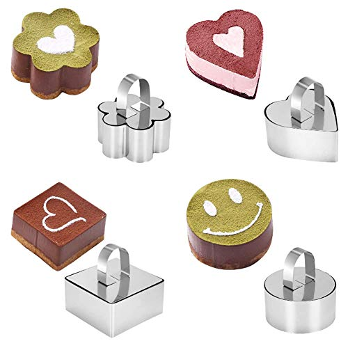 Set of 4 Different Shapes Professional Stainless Steel Food Rings DIY Cooking Rings Cake Ring Mould Set Suitable for Cakes, Salads, Chocolate Mousse, Tiramisu, Sandwiches etc. - Silver