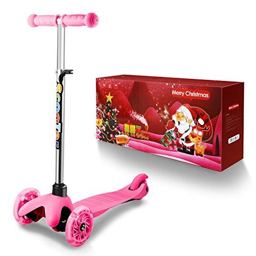 WeSkate Niños pequeños Patinetes Scooter 3 Ruedas Ajustables Mini triciclos Infantiles con Luces LED Intermitentes para niños y niñas