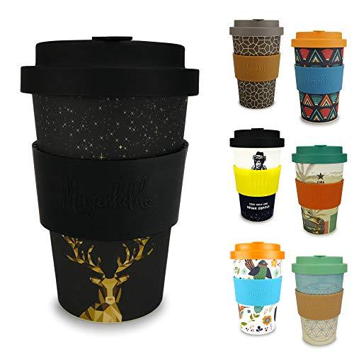 Morgenheld Dein trendiger Bambusbecher | Coffee-to-Go-Becher | Kaffeebecher mit Schraubdeckel und Banderole in coolem Design 400 ml (Golden Deer)