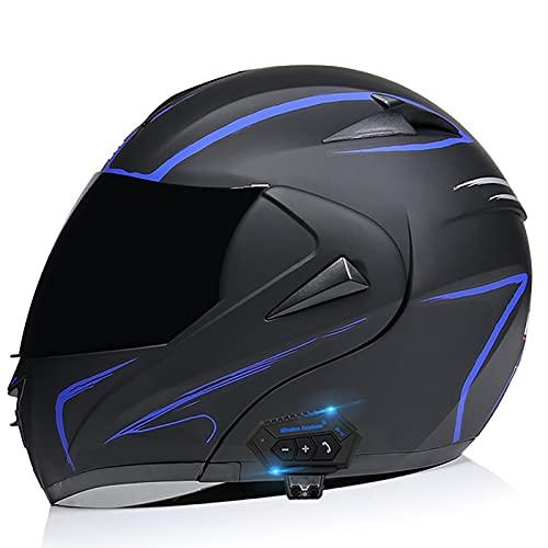 Bluetooth Integrado Medio Abierto Casco de Moto Casco Moto Scooter Jet para Mujer Hombre Adultos con Un Micrófono Incorporado Doble Visera ECE Homologado B,L=29~60CM