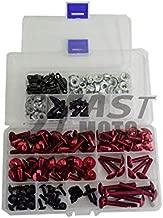 9FastMoto Full Motorcycle Fairings Bolt Screw Kits for Ninja 636 2009 2010 2011 2012 Kawasaki ZX6R 09 10 11 12 Aluminium Screws Fastener Clips (Red & Silver)