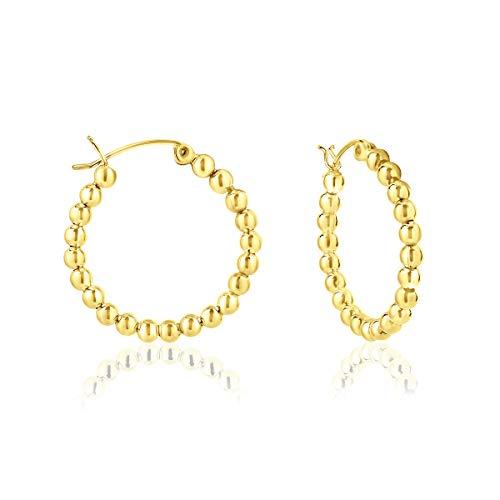 DTPsilver - Damen - Creolen mit Kugel - Ohrringe 925 Sterling Silber Gelb Vergoldet - Dicke 3 mm - Durchmesser 25 mm