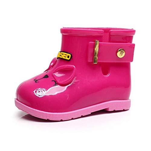 ZODOF Niño Impermeable de Goma de tiburón Infantil Bebé Botas de Lluvia Niños Niños Zapatos de Lluvia Vintage Calzado Deportivo Running Zapatos Ligero (20 EU, Rosa caliente1)