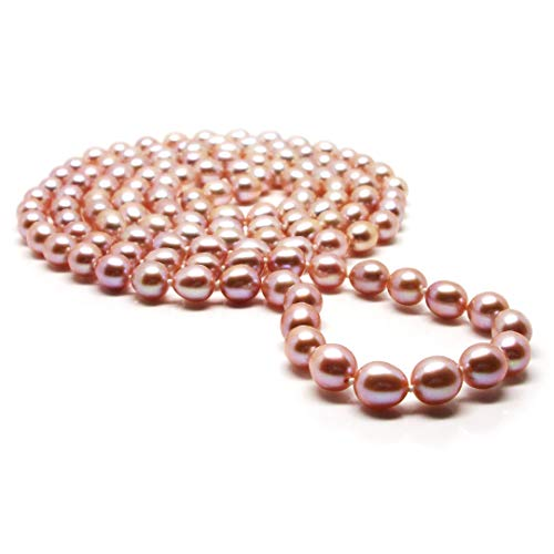 "Big Sale HinsonGayle AAA Handpicked Ultra-Luster Naturally Pink 8.0-8.5mm Cultured Pearl Rope Necklace (Glamour Collection, 48"")"