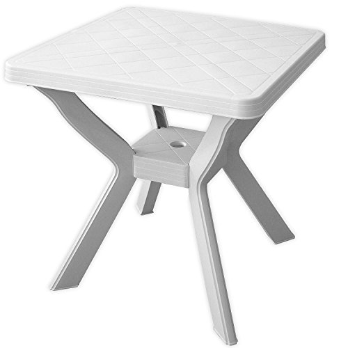 Wohaga Campingtisch Weiss 70x70cm Kunststoff Balkontisch Terrassentisch Kunststofftisch Gartentisch Beistelltisch