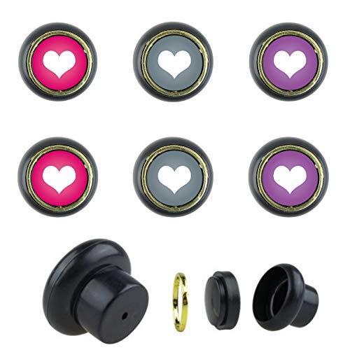 Set di 6 pomelli per mobili in plastica KST1040 a forma di cuore, rosa, lilla, grigio, adatti per armadi, cassetti, comò, porte, cucina, bagno, casa, cameretta dei bambini