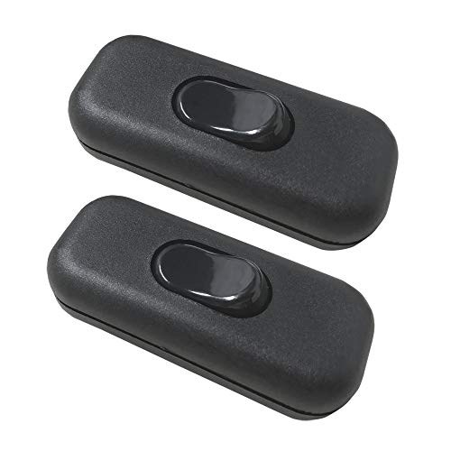 Mila-Amaz 2 Stück Zwischenschalter für 2-adrige und 3-adrige Zuleitungen und Anschlusskabel Schnurzwischenschalter mit Wippe EIN/AUS Schalter, Schwarz