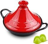 WJHCDDA Cacerolas 27cm Cocina Libre de Plomo Tagine, tagine Pot Cazuela de cerámica con Guantes de Silicona, Cocina, compatibles con Todas Las Estufas