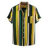 Yowablo Hemden Männer gestreifte Bedruckte Umdrehkragen Kurzarm lässig (M,5Gelb)