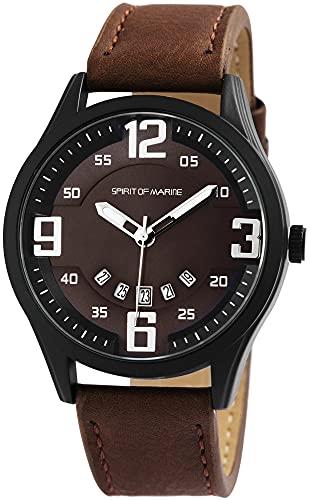 Spirit of Marine - Reloj de Pulsera analógico para Hombre, con Fecha, de Metal, Piel sintética, Mecanismo de Cuarzo, Color marrón