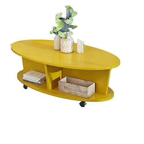 YNN Table Table Basse Ovale, Mini Table de Chevet Table de Chevet/Table de Chevet Mobile pour Salle de séjour en MDF Multifonction (Noir/Naturel/Blanc/Jaune) 80 * 40 * 40cm