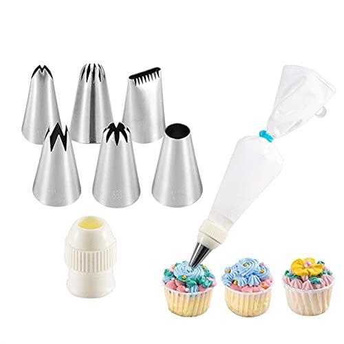 Pommee 8pcs / Set Edelstahl Icing Spritzbeutel und Tipps Kuchen Dekorieren Zubehör Kit Backen Cupcake Icing mit Gebäck (02)