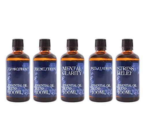 Mystix London   Lot de 5 flacons de 100 ml – Remèdes modernes – Mélange d'huiles essentielles