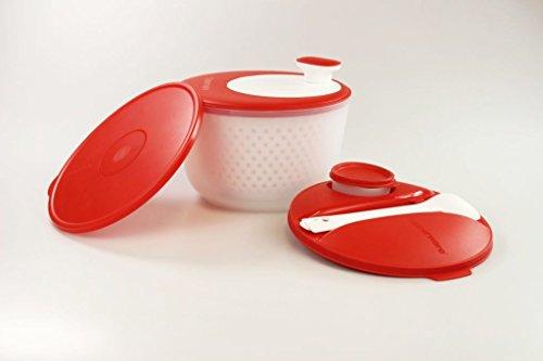 TUPPERWARE Salatschleuder Salat-Karussell 3,8 L rot-weiß+Deckel+Besteck+Behälter
