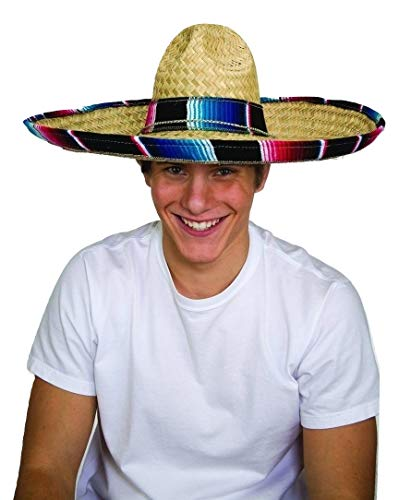Jacobson Hat Company Mexican Sombrero Hat Adult Costume Spanish Fiesta Cinco de Mayo Festive Salsa,Multi-color,One Size
