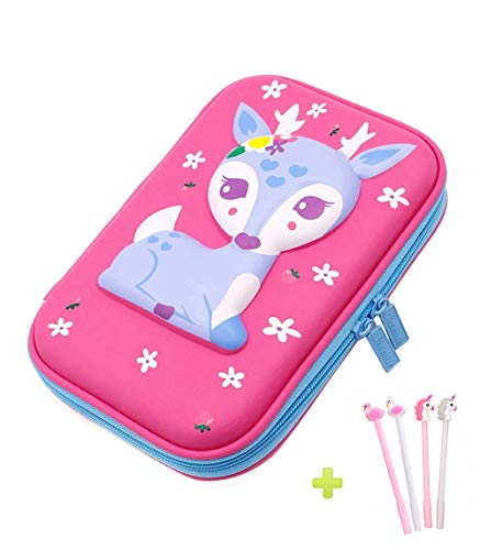 Pencil Case, iDelta 3D Cute EVA Deer Pen Pouch Stationery Box Anti-Shock Large Capacity Multi-Compartment for School Students Teens (Deer Pink)