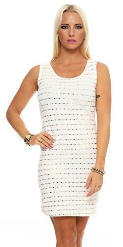 OSAB-Fashion 10956 Damen Minikleid Abendkleid Party Cocktail Glitzer Pailletten Goldnieten Dress (weiß, 36-38)