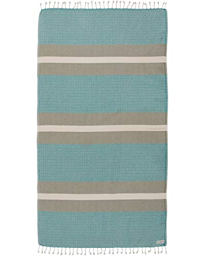 Sand Cloud Turkish Towel - Peshtemal Cotton - Great for Beach or as a Blanket - Dioche (Green)