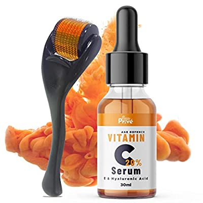 SunPrive Vitamin C Serum 20% with Hyaluronic Acid - Powerful Anti Aging & Anti Wrinkle Solution For Face - Also included Micro Derma Roller 0.5 MM - Made in UK from Sunprive