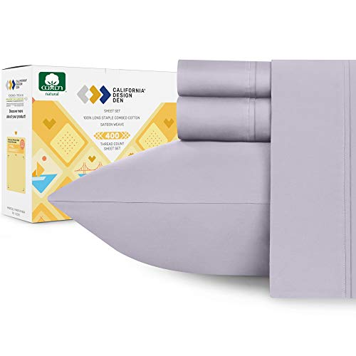 400-Thread-Count 100% Cotton Sheets for Bed - 4-Piece Lavender Grey Full Size Sheet Set Long-Staple Combed Cotton Bed Sheets Soft Sateen Weave Fits Mattress 16'' Deep Pocket