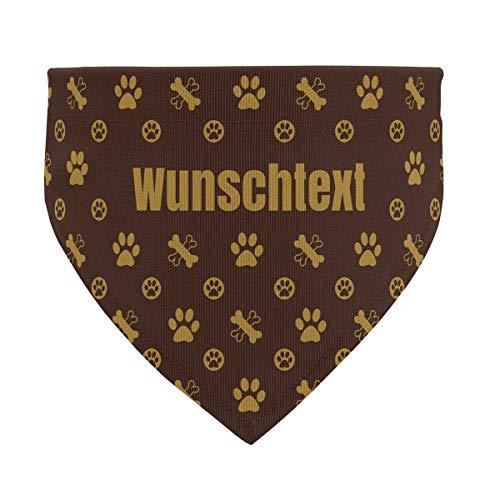 printplanet® - Hundehalstuch mit Name oder Text - Halstuch für Hunde - Layout Logo-Muster - Größe L