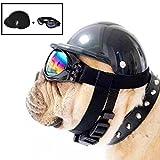AMOYER Sombrero Lindo del Perro del Casco a Prueba de Viento + Prueba de Lluvia Gafas de Aviador para el Animal doméstico del Gato del Traje/del Perrito de Juguete de plástico