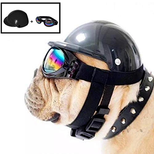 AMOYER Netter Hund Helm Hut + Windsicher Regenfest Flieger-Sonnenbrille für Haustier-Katzen-Kostüm/Welpe Sport ABS Kunststoff-Spielzeug Helmet Cap für Haustier (S Größe, Schwarz)
