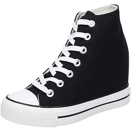 wealsex Donna Zeppe High-Top Scarpe di Tela Traspirante Nascosto Zeppe Scarpe Casual Sneaker Donna (Nero,35)