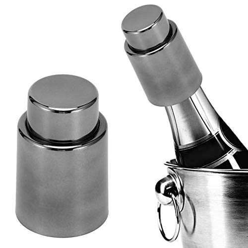 Okuyonic Tapón de Vino al vacío Almacenamiento sin Aire Conservador de champán Suministro de Barra Tapón de Botella al vacío Ahorrador de champán para Accesorios de Bar Cocina del hogar(Gray-Black)