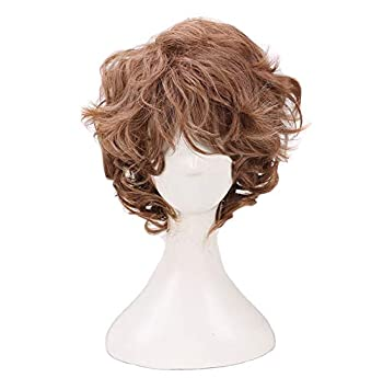 Man s Short Curly Brown Cosplay Wigs for Halloween Costume