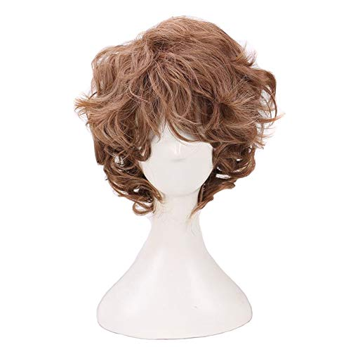 Man's Short Curly Brown Cosplay Wigs for Halloween Costume
