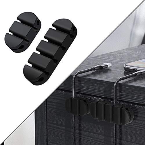 Calife 2本入れ シリコン製ケーブルホルダー ケーブルクリップ ケーブルドロップ コード収納・管理用 コードまとめる 落下防止 USBデータケーブル・マウス/キーボードライン・ヘッドフォンケーブル対応可能 部屋・オフィス・車内・壁・デスク・テーブル使
