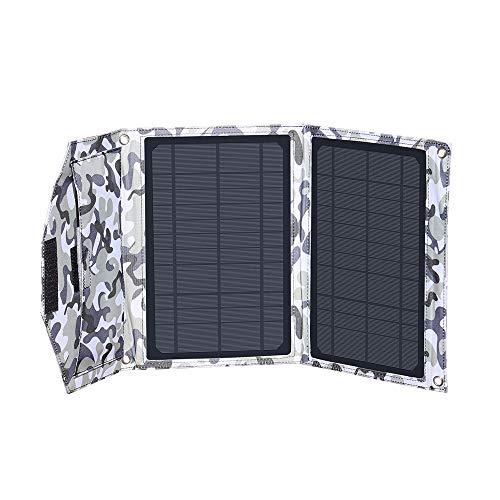 XINPUGUANG Cargador Solar 14W Portátil Dual USB Exterior Panel Solar Plegable 5V 3A Salida para teléfono, Tableta, cámara, Banco de energía, Ventilador, Camping, Carga de Viaje (Camuflaje)