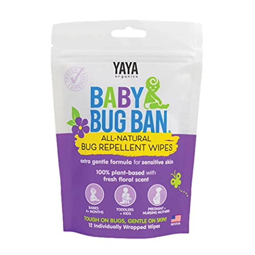 YAYA ORGANICS Baby Bug BAN Insect Repellent Wipes – All-Natural, DEET-Free, Non-Toxic, for Babies, Kids, Pregnant and Nursing Moms and Sensitive Skin (12 Count, Pack of 1)