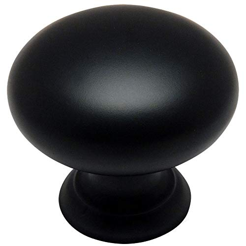 25 Pack - Cosmas 4950FB Flat Black Cabinet Hardware Round Mushroom Knob - 1-1/4 Diameter
