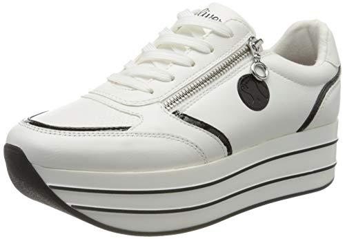 s.Oliver Damen 5-5-23661-24 Sneaker, Weiß (White/Black 103), 40