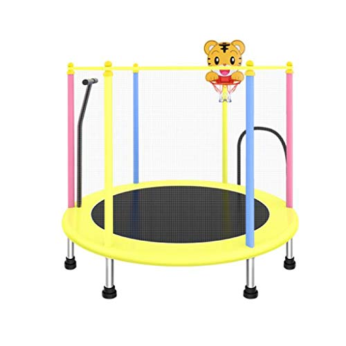 55' Kids Trampoline, with Safety Enclosure Net & Spring Pad, Bulit-in Zipper Heavy Duty Steel Frame, Outdoor Indoor Mini Trampolines for Kids