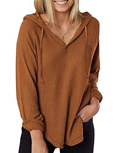Zanzea Mujer Camisetas Tallas Grandes Blusa Irregular Cuello V Manga Larga Color Sólido Casual Tops Jersey de Punto 02-Marrón Claro 2XL