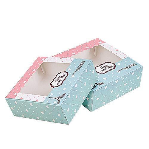 Scatole per torta,Scatole per biscotti,Scatola Carta Kraft (Set da 15) Scatole Regalo Cartone per Pasticceria con Coperchio Trasparente Scatola Biscotti, Scatole per Dolci e Scatole Cioccolatini