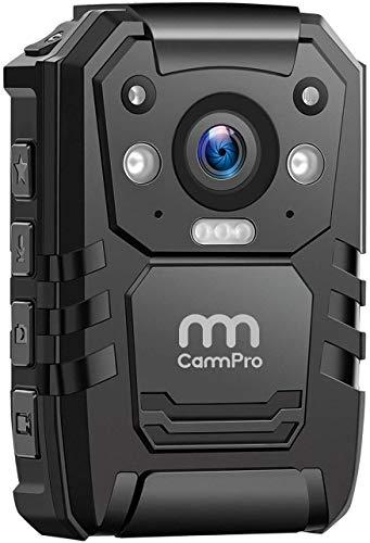 CammPro Cámara corporal I826, 1296P HD policía cuerpo llevado cámara incorporada de 64 GB de memoria de visión nocturna, GPS para grabadora de cumplimiento de la ley, guardias de seguridad