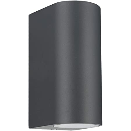 LASIDE Outdoor Wall Lights, Anthracite Grey GU10 Up Down Outside Wall Lights Electric, IP44 Waterproof Aluminium Garden Wall Lights Mains Powered for Patio, Terrace, Garden, Balcony, Porch, Garage