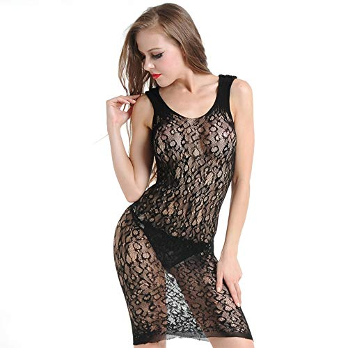 Sexy Kant Sling Transparante Lange Rok ondergoed Hollow Corset Net Coat Clubwear ZHQHYQHHX (Color : Black, Size : One size)