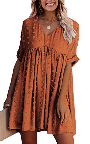 ECOWISH Women Summer Dress V-Neck Polka Dot Short Sleeve Casual Loose Flowy Swing Tunic Dresses Orange Red X-Large
