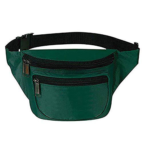 Waist Bag, BuyAgain Sport Running Fanny Pack Waist Travel Fanny Bag for Men Women with Quick Release Buckle 3 Zipper Compartments Fit Smart Cellphone and Passport Hunter Green