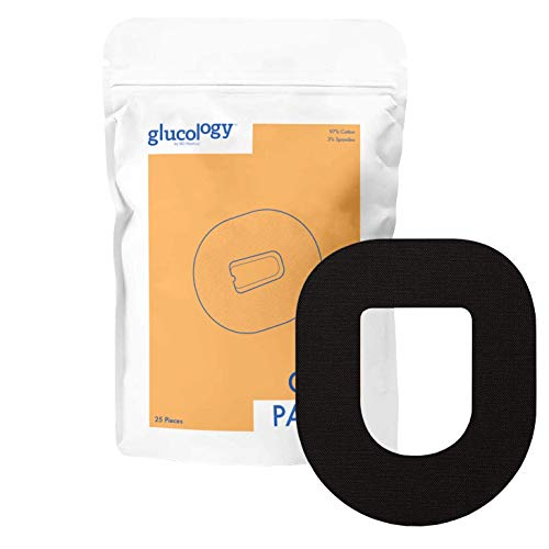 Glucology - Omnipod CGM Pflaster Black | 25er-Pack | Wasserfestes flexibles Klebepflaster für Diabetes CGM