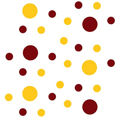 Burgundy/Yellow Vinyl Wall Stickers - 2 & 4 inch Circles (30 Decals)