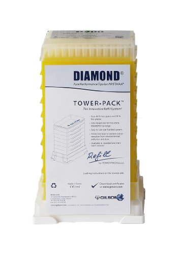 Gilson Pipetman F167103 Standard Diamond Autoclavable Pipette Tip, Tower Pack, 2-200µL Volume Range (Pack of 960)