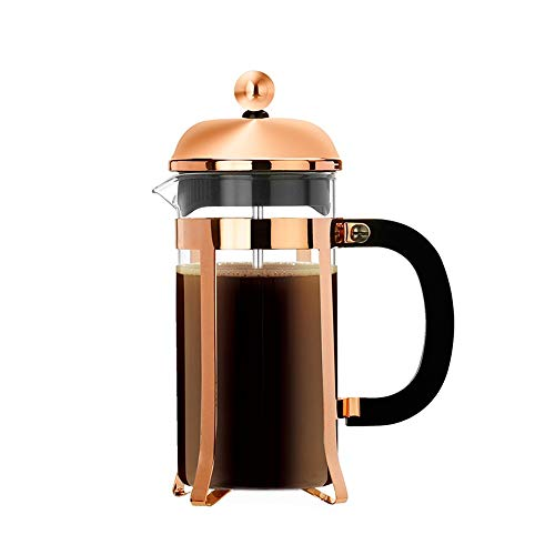 Vobajf Caffettiere a pistone Rose Gold French Press Tea Pot Filtro Coppa Mano Brewer Francese caffè Appliance cafetieres (Colore : Stainless Steel, Size : 600ml)