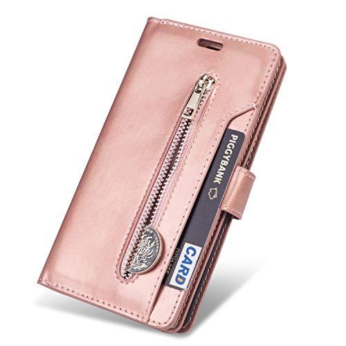 ZCDAYE Brieftasche Schutzhülle für iPhone 11 6.1 Zoll(2019),Premium PU Leder Handytasche Stand Kartenfach Magnet Hülle Case Handyhüll,Roségold
