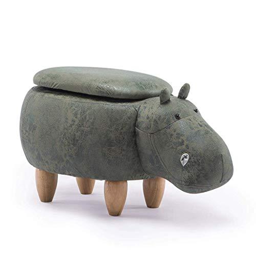 DaPengNB Kreative Karikatur-Grün Hippo Lagerung Hocker Schuhe Bank Sofa Bank Wohnzimmer Cartoon Massivholz-Hocker Test-Schuhe Hocker